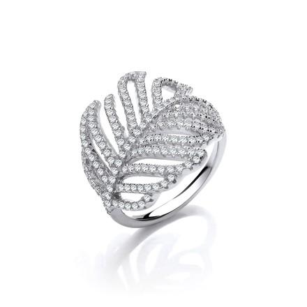 Selling: Barley Leaf Style Cz Silver Ring