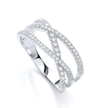 Selling: Micro Pave' 3 Row Cross Over with 61 Cz Ring