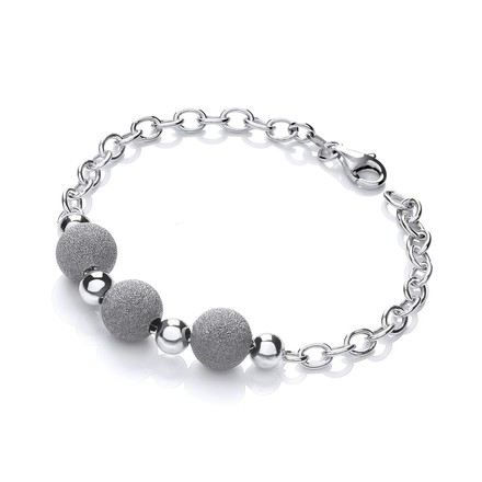 Silver with Three Moondust Beads Bracelet
