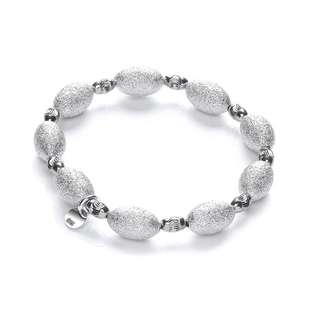 Silver bracelet with Frosted & Ruthenium Beads
