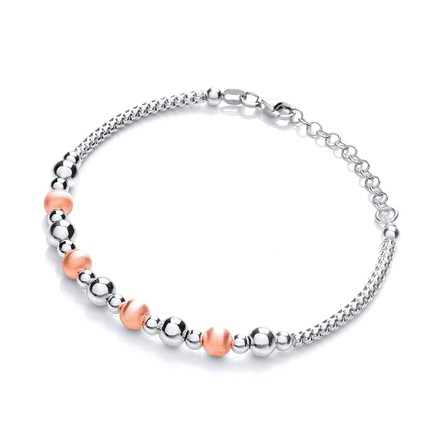 Silver & Rose Plated Beads Bracelet