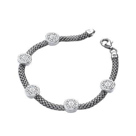 """Ruthenium Mesh with Five Circles Cz's 7""""/19cm Bracelet"""
