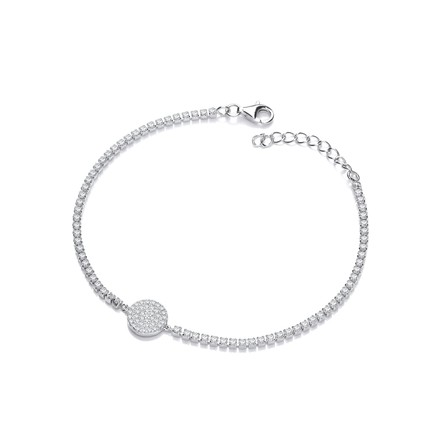 Selling: Silver Friendship Bracelet with Pave Round Pendant