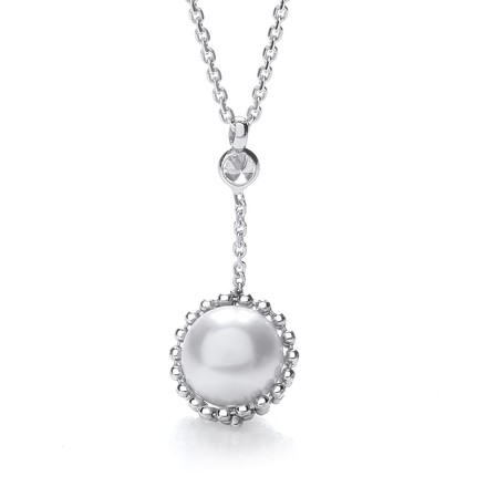 Swarovski Pearl Drop Necklace 17""