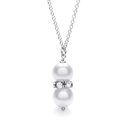 Swarovski Glass Pearl with Crystals Necklace