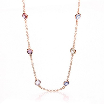 Rose Coated Rubover 6 Multi Coloured Cz's Necklace 18""