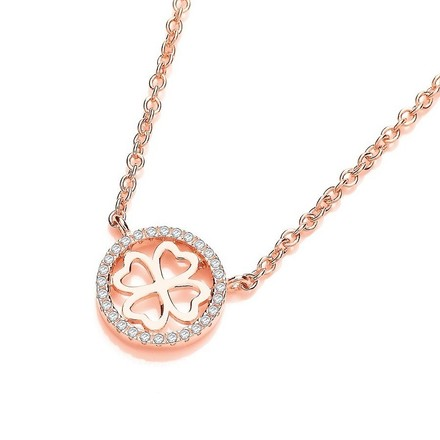 "Rose Coated Silver, Four Leaf Halo Cz Clover 17"" Necklace"