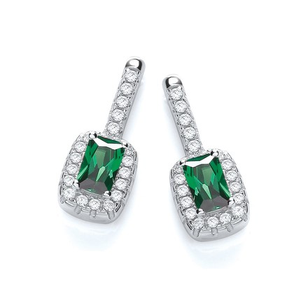 Selling: Micro Pave' Fancy Drop Earring with Small Green Cz