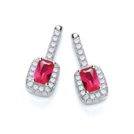 Selling: Micro Pave' Fancy Drop Earring with Small Red Cz