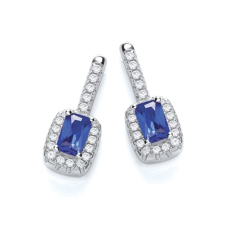Selling: Micro Pave' Fancy Drop Earring with Small Blue Cz
