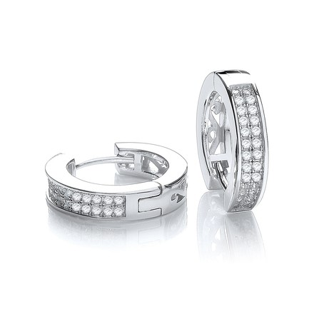 Selling: Micro Pave' Square Half Tube Hoop with Cz
