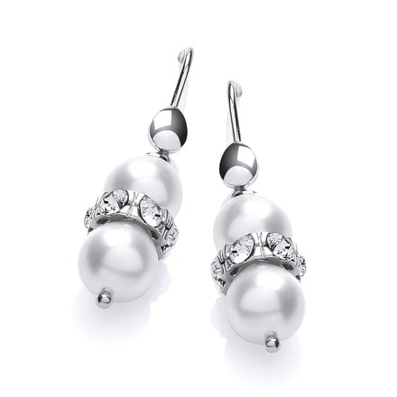 Selling: Swarovski Glass Pearl with Crystals Earrings
