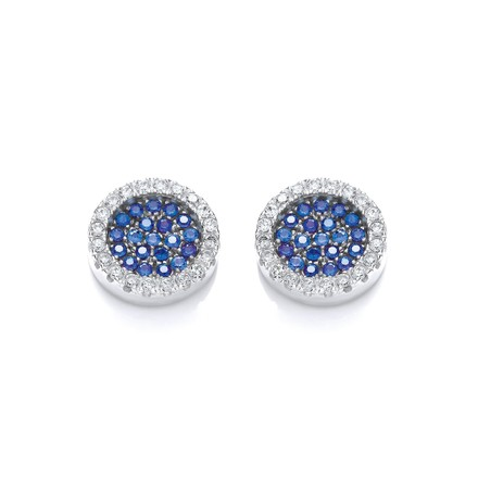 Selling: Micro Pave' Round Blue Cz Stud Earrings