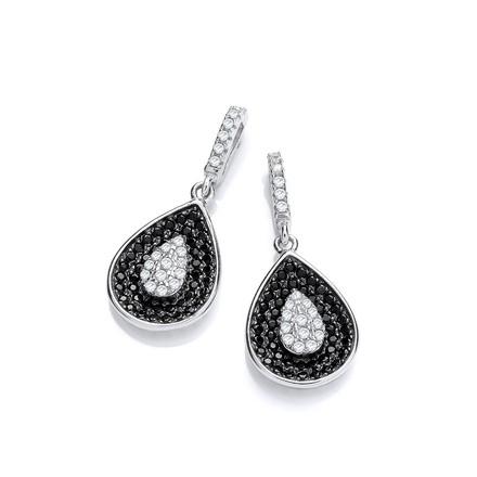 Selling: Micro Pave' Black & Clear Cz Teardrop Shape Earrings