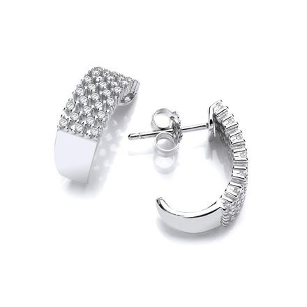 Micro Pave Multi Row Cz Silver Earrings