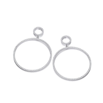 Circle of Life 34.5mm CZs Drop Earrings
