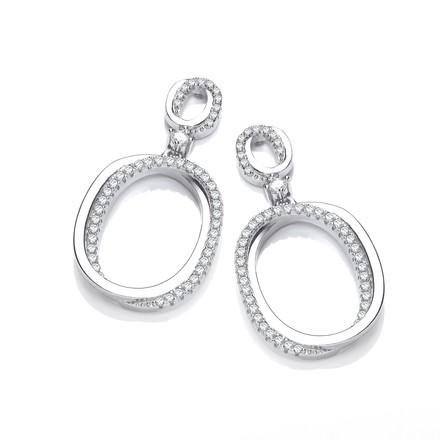 Oval Plain & CZs Drop Earrings