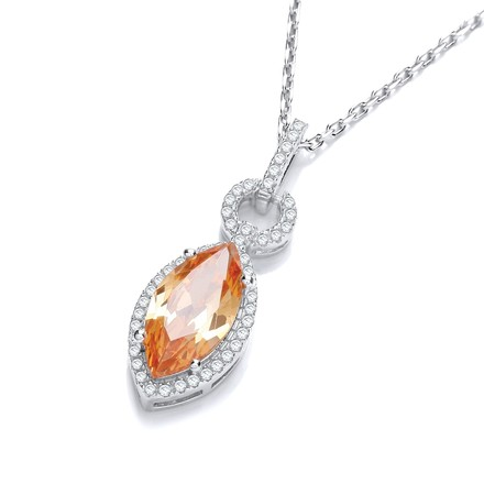"""Selling: Micro Pave' Champagne & White Drop Pendant with 18"""" Chain"""