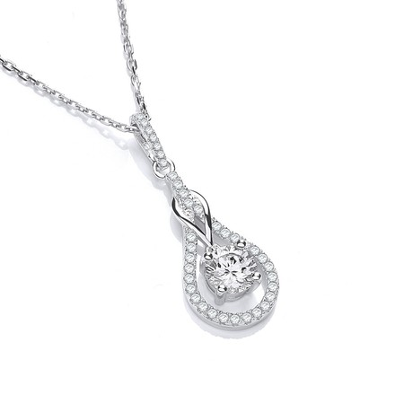 """Selling: Micro Pave' Tear Drop Cz Pendant with 18"""" Chain"""