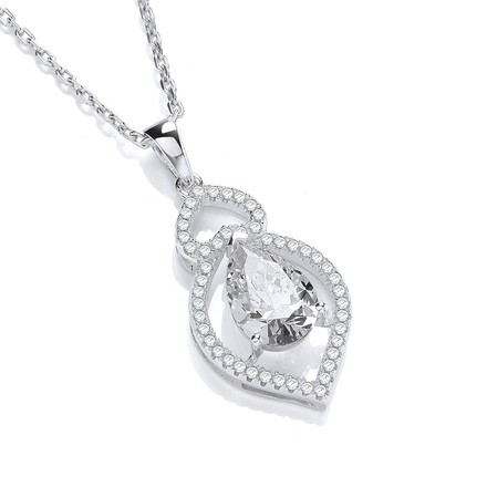 """Selling: Micro Pave' Clear Tear Drop & Clear Cz Pendant with 18"""" Chain"""