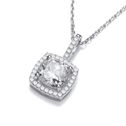 """Selling: Micro Pave Princess Cut Cz Pendant with 18"""" Chain"""