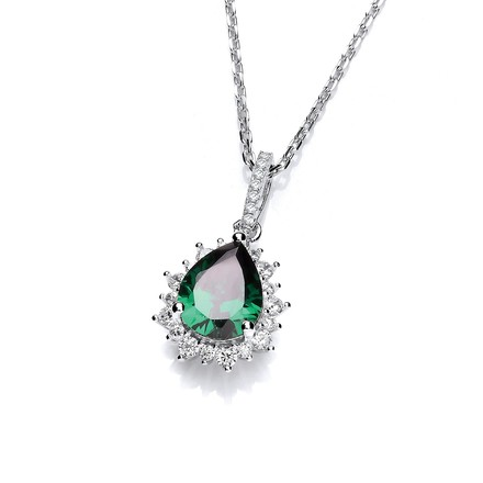 """Selling: Silver Green Tear Drop Cz Pendant with 18"""" Chain"""