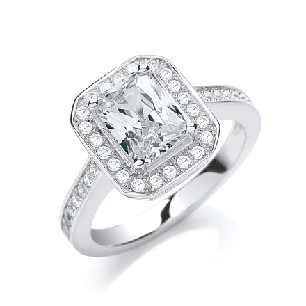Selling: Micro Pave' Emerald Shape Cz & Shoulder Ring