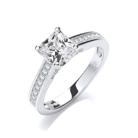 Selling: Micro Pave' Princess Cut with Shoulder Cz 's Ring