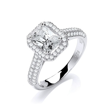 Selling: Micro Pave' Emerald Cut Centre with Shoulder Cz's Ring