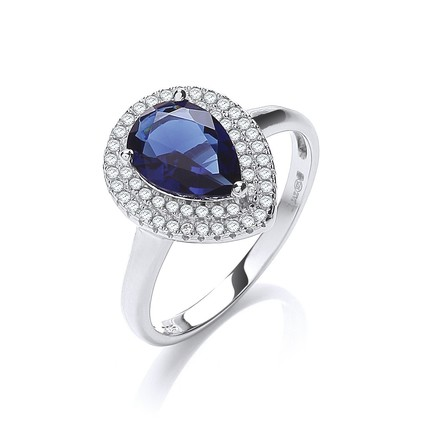 Selling: Micro Pave'  Blue Tear Drop Cz Ring