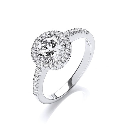 Selling: Micro Pave' Round Halo Cz Ring
