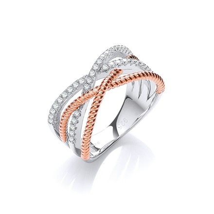Selling: Micro Pave' Rose Coated & Silver Cz Ring