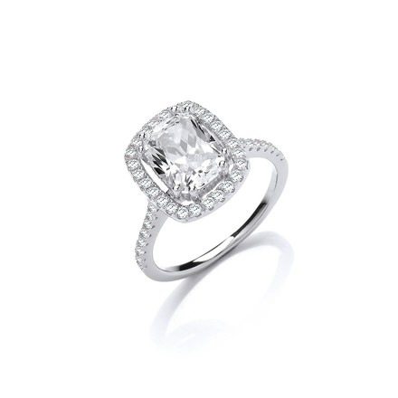 Selling: Halo Style High Setting Emerald Cut Cz Silver Ring