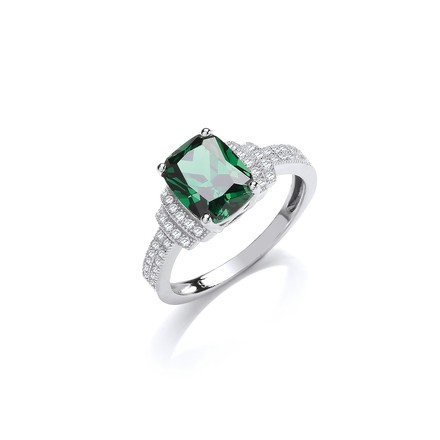 Selling: Emerald Cut Green Cz Centre with Clear Cz on Shoulder Silver Ring