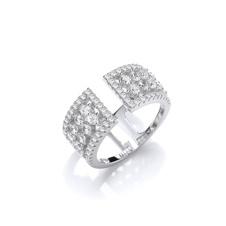 Selling: Silver Open Ring with Micro Pave Cz's