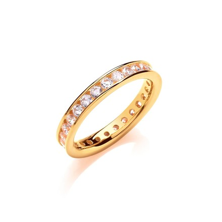 Selling: 3mm Full ET Rd/Bril. Cz YG Plated Silver Ring