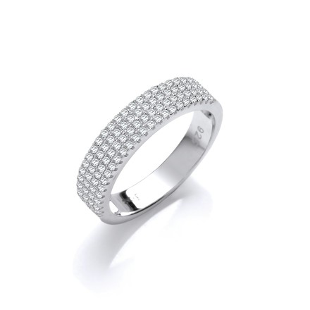Selling: Micro Pave' Half ET Cz Silver Ring