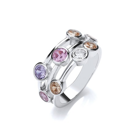 Selling: Multi Colour Rubover set CZs Ring