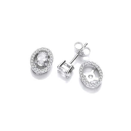 Micro Pave Oval Cz Halo Stud Silver Earrings
