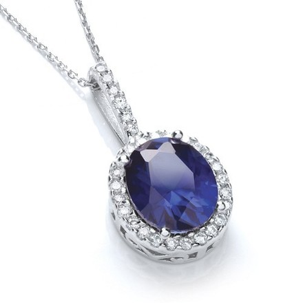 """Selling: Oval Cluster Deep Blue Cz Pendant with 18"""" Chain"""
