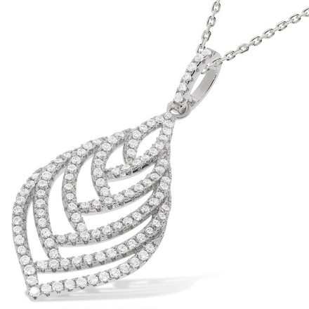 """Selling: Micro Pave Leaf Shape Cz Pendant with 18"""" Chain"""