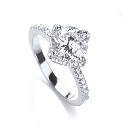 Selling: Micro Pave' High setting S/S Ring Cz on Shoulder