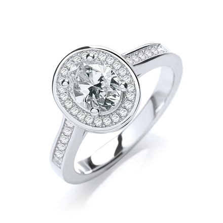 Selling: Micro Pave' Oval Shape Cz Ring