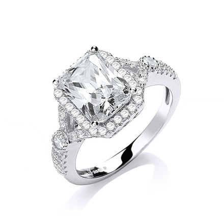 Selling: Micro Pave' Emerald Cut Centre Cz Ring