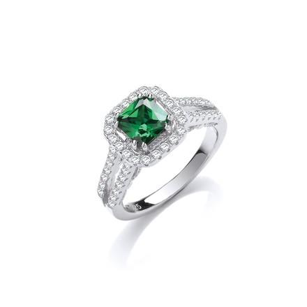 Selling: Green p/c Cz High Setting Split Shank Fancy Silver Ring