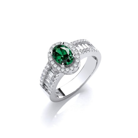 Selling: Oval Green CZ with Baguette & Round CZs on Shoulder Silver Ring