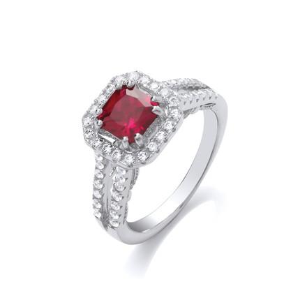 Selling: Red p/c Cz High Setting Split Shank Fancy Silver Ring