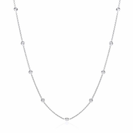 Silver Rh.Plated Rubover 11 Cz's Necklace 18""