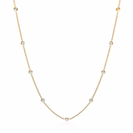 Gold Coated Rubover 11 Cz's Necklace 18""