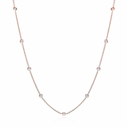 Rose Coated Rubover 11 Cz's Necklace 18""